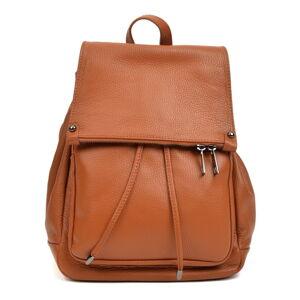 Koňakově hnědý kožený batoh Roberta M, 24 x 34 cm