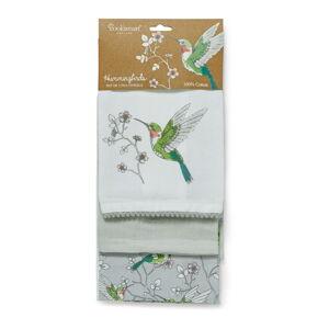 Sada 3 šedých kuchyňských bavlněných utěrek Cooksmart ® Hummingbirds