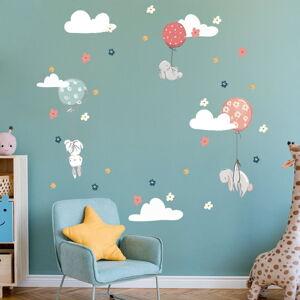 Dětské samolepky na zeď Ambiance Bunnies in the Sky