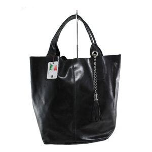 Černá kožená kabelka Chicca Borse Tote Moe