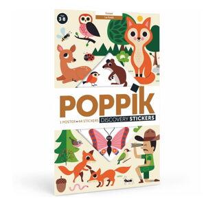 Vzdělávací samolepkový plakát Poppik Lesní zvířata