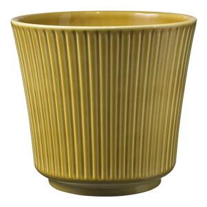 Žlutý keramický květináč Big pots Gloss, ø 12 cm