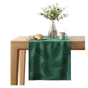Zelený běhoun na stůl se sametovým povrchem AmeliaHome Peacock,40x140cm