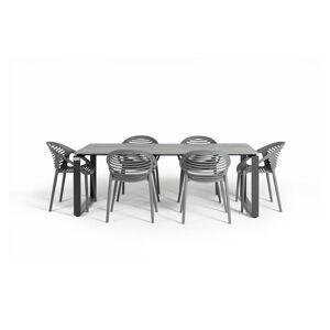 Šedý zahradní set nábytku se 6 židlemi Le Bonom Joanna Strong