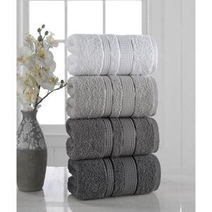 Sada 4 ručníků Pure Cotton Gray, 50 x 85 cm