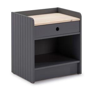 Šedý noční stolek s deskou z borovicového dřeva Marckeric Monte