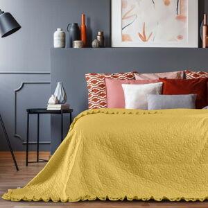 Žlutý přehoz přes postel AmeliaHome Tilia, 220x240cm