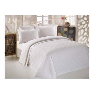 Bílý bavlněný přehoz přes postel na dvoulůžko Single Pique Puro, 200 x 234 cm
