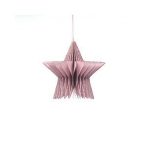 Papírová vánoční ozdoba ve tvaru hvězdy v barvě rose gold Only Natural, délka 7,5 cm