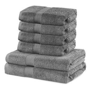 Set 2 bavlněných šedých osušek a 4 ručníků DecoKing Marina