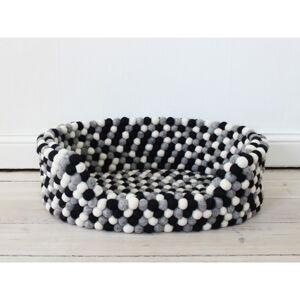 Černo-bílý kuličkový vlněný pelíšek pro domácí zvířata Wooldot Ball Pet Basket, 40 x 30 cm
