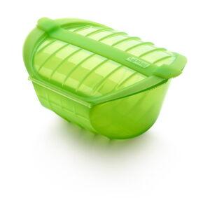 Zelená silikonová nádoba pro vaření v páře Lékué Deep Steam Case L