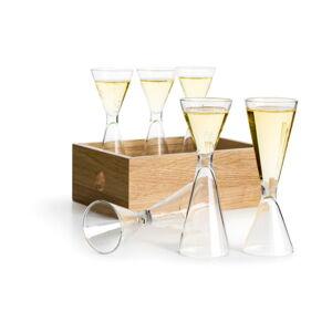 Sada 6 ručně foukaných skleniček s dubovou krabičkou Sagaform Schnapps