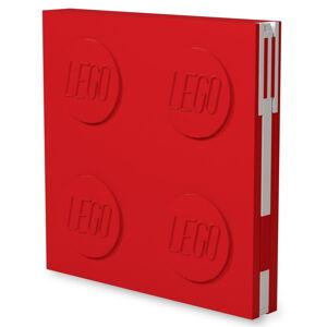 Červený čtvercový zápisník s gelovým perem LEGO®, 15,9 x 15,9 cm