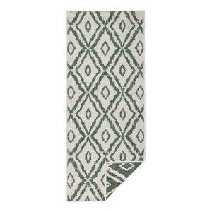 Zeleno-bílý venkovní koberec Bougari Rio, 80 x 350 cm