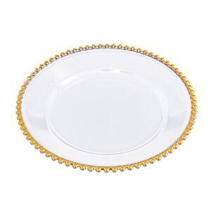 Plastová mísa na ovoce v bílo-zlaté barvě Unimasa