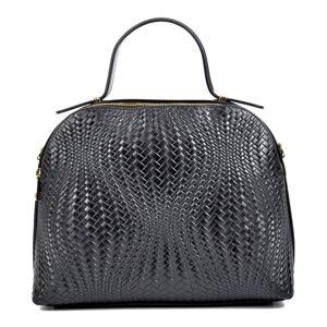 Černá kožená kabelka na dva zipy Isabella Rhea