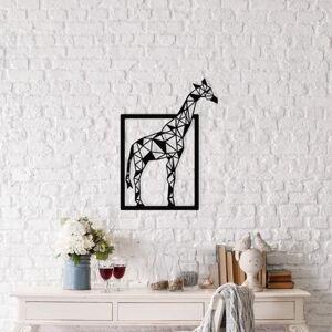 Černá kovová nástěnná dekorace Giraffe, 45 x 60 cm