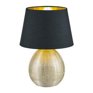 Černá stolní lampa z keramiky a tkaniny Trio Luxor, výška 35 cm