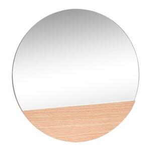 Nástěnné zrcadlo s detailem z dubového dřeva Hübsch Lana, ø50cm