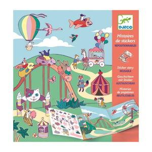 Příběh s přemístitelnými samolepkami Djeco Zábavný park