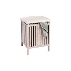 Bílá koupelnová stolička z ořechového dřeva s úložným prostorem Wenko Norway