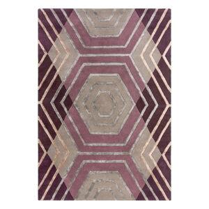 Fialový vlněný koberec Flair Rugs Harlow, 120 x 170 cm