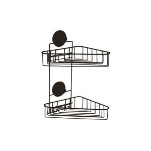 Černá samodržící nástěnná rohová koupelnová polička Compactor Bestlock Black Corner Rack 2 Shelves