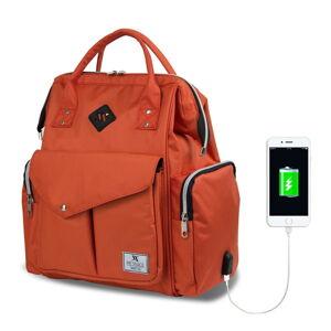 Oranžový batoh pro maminky s USB portem My Valice HAPPY MOM Baby Care Backpack