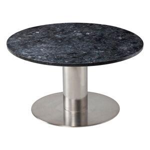 Černý žulový konferenční stolek s podnožím ve stříbrné barvě RGE Pepo, ⌀ 85 cm