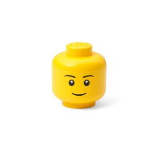 Žlutá úložná krabice ve tvaru hlavy LEGO® boy, 10,5x10,6x12 cm