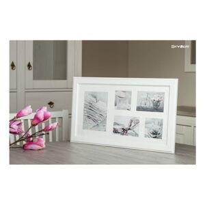 Bílý rámeček na 5 fotografií Styler Malmo, 51x27cm