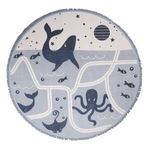Dětský bavlněný ručně vyrobený koberec Nattiot Deep Blue,ø120cm