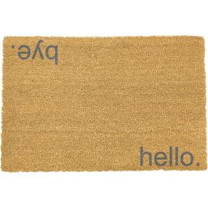 Šedá rohožka z přírodního kokosového vlákna Artsy Doormats Hello,Bye, 40x60cm