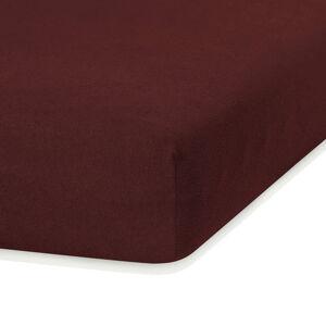 Tmavě hnědé elastické prostěradlo s vysokým podílem bavlny AmeliaHome Ruby, 100/120 x 200 cm