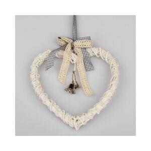 Bílé ratanové závěsné srdce Dakls Bell, 20 cm