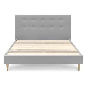 Světle šedá dvoulůžková postel Bobochic Paris Rory Light. 180 x 200 cm
