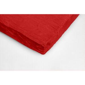 Červené mikroplyšové prostěradlo My House, 180 x 200 cm