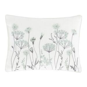 Bílo-zelený polštář Catherine Lansfield Meadowsweet Floral, 30 x 40 cm