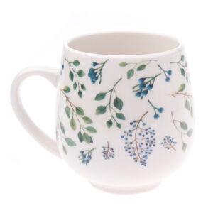 Bílý porcelánový hrneček s modrým květinovým motivem Dakls, objem 0,5 l