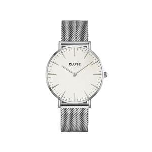 Dámské hodinky z nerezové oceli ve stříbrné barvě s bílým ciferníkem Cluse La Bohéme