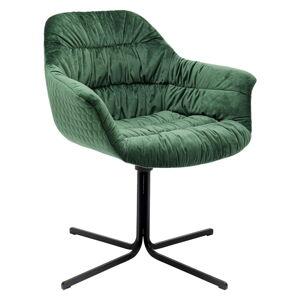 Zelená židle se sametovým čalouněním Kare Design Swivel
