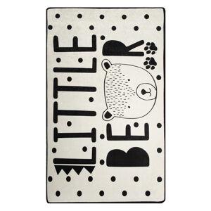 Černo-bílý dětský protiskluzový koberec Chilai Little Bear,100x160cm