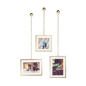 Sada 3 závěsných rámů ve zlaté barvě na fotografie Umbra Angle