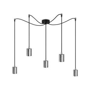 Černé pětiramenné závěsné svítidlo s detaily ve stříbrné barvě Bulb Attack Cero