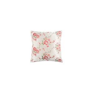 Bílý květovaný polštář White Label Jade, 45x45cm
