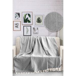 Šedý bavlněný přehoz přes postel Viaden HN,170x230cm