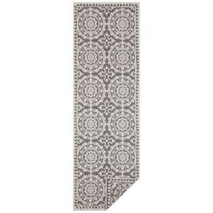 Šedo-krémový venkovní koberec Bougari Jardin, 80 x 250 cm