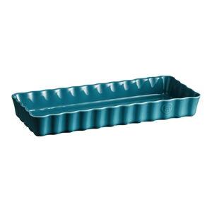Tyrkysově modrá keramická koláčová forma Emile Henry, 15 x 36 cm