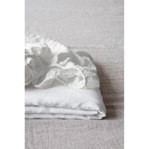 Bílé lněné elastické prostěradlo Linen Tales, 180 x 200 cm